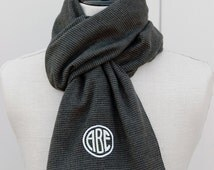 Mens Scarf, Monogram Flannel Scarf -Charcoal/Black Mini Houndstooth