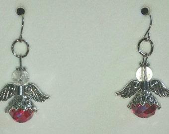 Red crystal angel earrings
