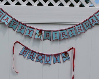 Sock Monkey Birthday Banner