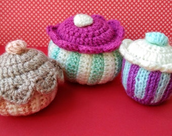 Bright hand made crochet and knitted kitchen pots