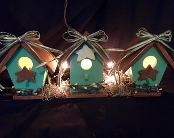 String Light Birdhouses