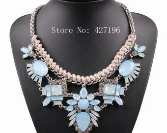 Rope chain necklace flower shaped summer pendant
