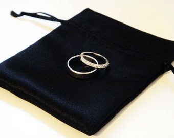 Black Satin Drawstring Ring Jewellery Gift Pouch