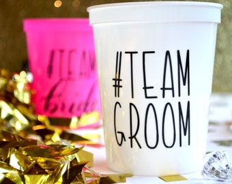 16 Oz Hashtag Team Groom Plastic Stadium Cups Custom Bridal Party Favors Bachelor Wedding Bridesmaid Gifts Shower Engagement Party Reception