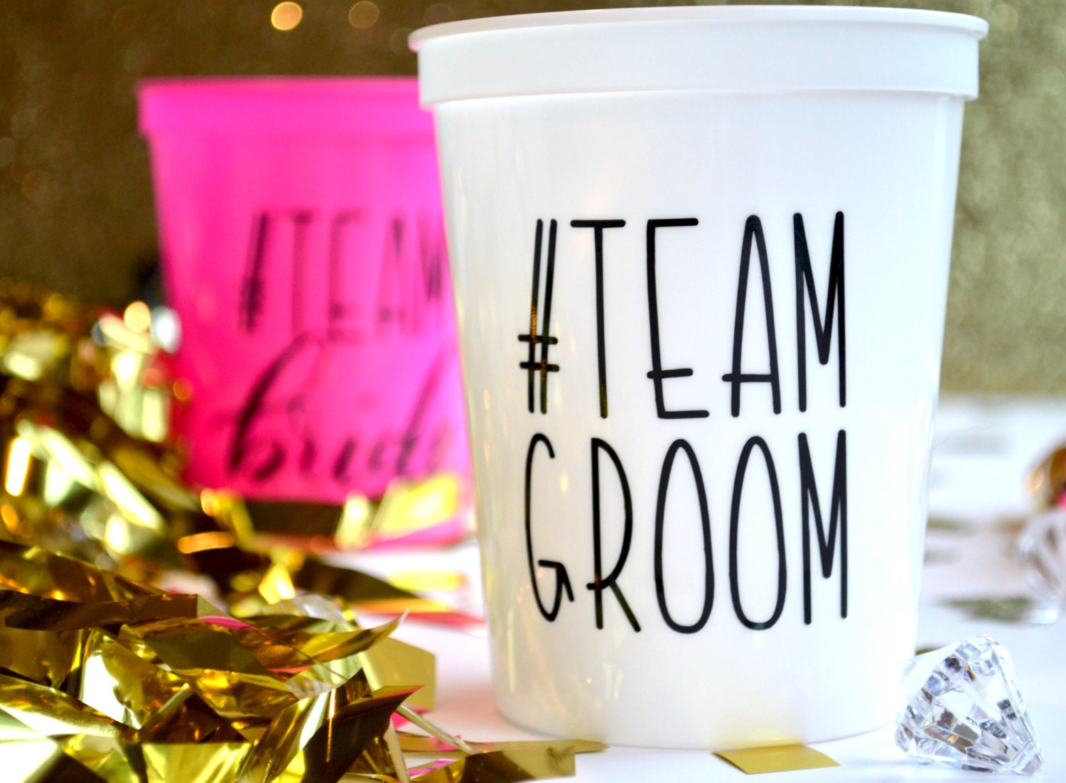 HASHTAG TEAM GROOM 16 Oz Plastic Stadium Cups Custom Bridal