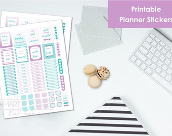 """Printable planner Stickers, purple and mint color. US Letter Size (8.5""""x11""""), Portrait. To do digital stickers. Instant download."""