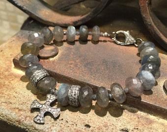 Labradorite and Diamond Braceket