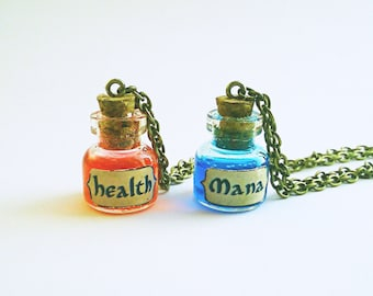 "Gamer necklace ""Health"" or ""Mana"". Nerd video game jewelry"
