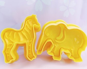 Zoo Animals Plunger Cookie Cutter Set Zebra Elephant Giraffe Lion