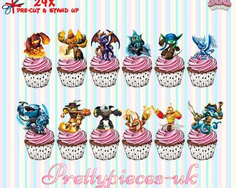 24 x Skylanders Stand-Up Pre-Cut Wafer Paper Cupcake Toppers