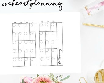 Personal/Medium size UNDATED MO2P printable planner inserts 12 Months|Instant Download|