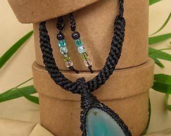 Blue agate macrame pendant kumihimo cord