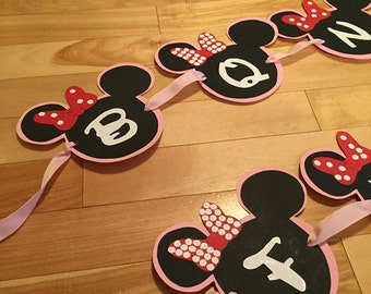 Minnie Mouse birthday banner.