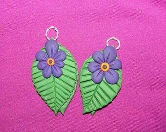 Handmade Flower Leaf Clay Earrings