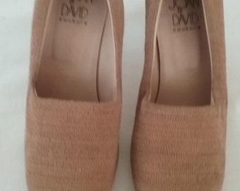 Vintage Joan and David Linen And Wood Pumps Size 8