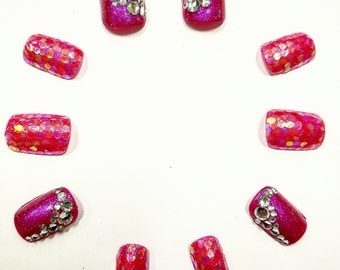 Glittery Bejeweled Pink Press On Nails | Sparkly Nails | Fake Nails | False Nails | Drag Queen Nails | Nail Art