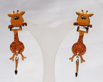 Giraffe fire large enamel earrings