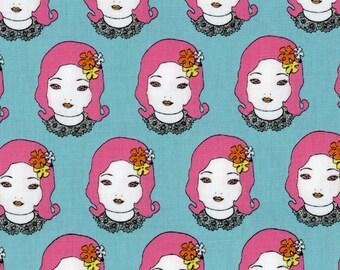 Cool Fabric | Unique Fabric | Modern Japanese Fabric | Kokka Japanese Import Fabric | Elegant Punk Pink | Aqua Canvas