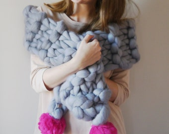 Chunky Knit Pom Pom Scarf, Super Chunky cosy scarf 30+ colours - Pom-Pom scarf wrap - Fun Scarf - Pompom chunky knit - Soft Knit Scarf