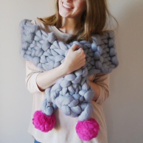 Chunky Knit Pom Pom Scarf, Super Chunky cosy scarf 30+ colours, Pom-Pom scarf wrap, Pompom chunky knit