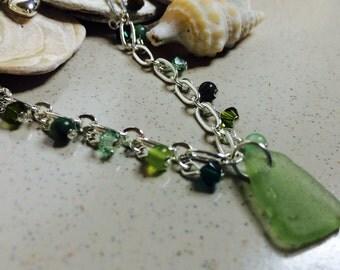 Semi precious beads, crystals and sea glass bracelet