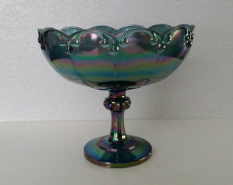 Blue Iridescent Carnival Glass Garland Pedestal Bowl by Indiana Glass