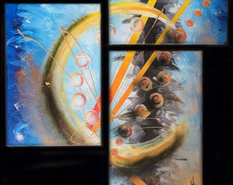 Modern painting abstract painting 3 panels