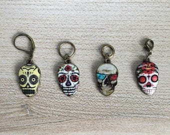 Sugar Skull Stitch Marker/Progress Keeper Set