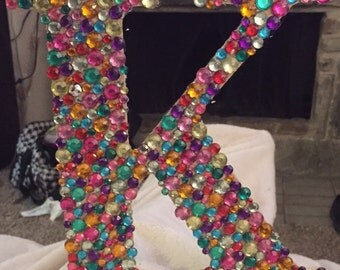 Rhinestone Covered Wooden Letter