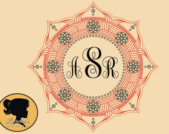 Mandala Circle Monogram Frame SVG, Mandale zen, Frame zen design, (zipped .eps .pdf .dxf .svg and .studio file) vector cutting files