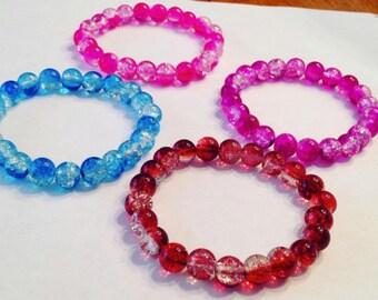 Shimmering Two-Toned Glass Bead Bracelet