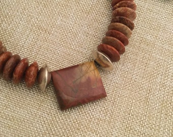 Red Jasper Gemstone Necklace with Sterling Silver.