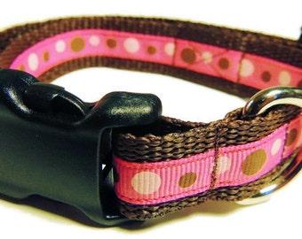 Medium Brown/Pink Dots Dog Collar