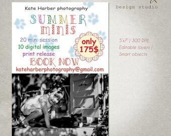 Mini Session Template, Summer Mini Sessions, Marketing Board, Photoshop Template, Photography Marketing Set, PSD