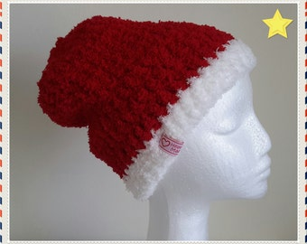 Crochet Hat - Luxury Supersoft Slightly Slouchy Santa Beanie