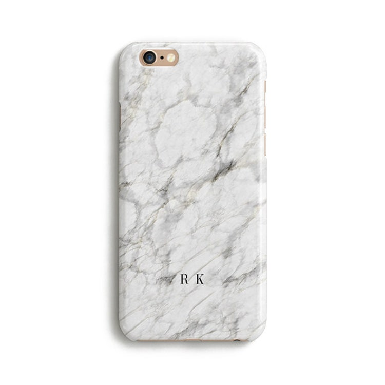 White Marble Name Initials Custom Iphone 7 Case By Catsicorn