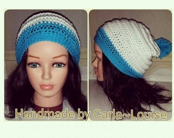Slouchy pom pom hat. crochet yarn wool gift winter