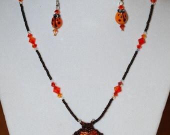 Orange Ladybug Necklace & Earring Set