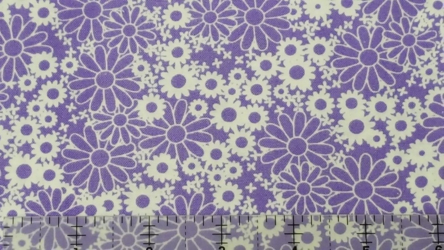 Floral fabric baby talk purple daisy fabric by fabri for Purple baby fabric