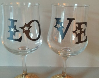 Set of decorated glasses