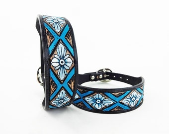 Handmade Leather Western Style Custom Tooled & Painted Blue Dog Collar