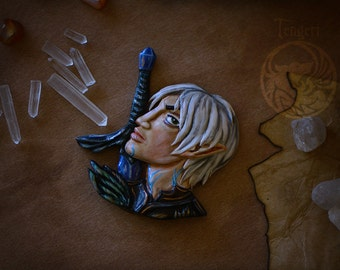 OOAK  Dragon Age Fenris Necklace Pendant-polymer clay jewelry-game gift-fantasy rpg-collection magnet- geek gift-glow in the dark