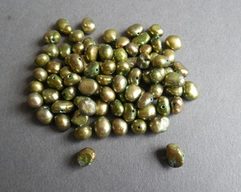 5mm Freshwater Pearls - Chartruse, Olive Green - approximately 70 pieces