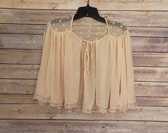 Vintage Pale Pink Lingerie Cape Top
