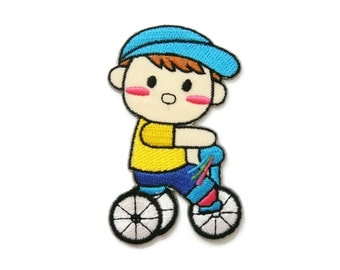 Boy Ride Bicycle Kid Patch Embroidered Applique Iron on Patch 5.2 cm. x 8 cm.
