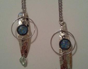 Fishing Necklace, Fishing Lure Necklace, Fishing accessories, Woman's Fishing Accessories, Fly Fishing Necklace, Cabochon Necklace, Silver