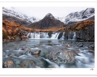 Fairy Pools Isle of Skye Landscape Photo   Wall Art   Waterfall Rocks Mountains Wall Decoration   Realistic Photographic Print