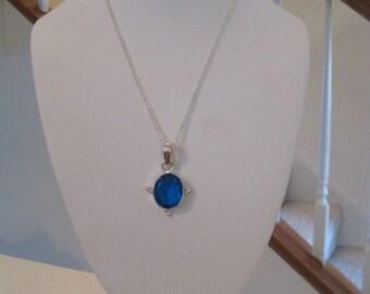 Sapphire Color Quartz Glass Necklace