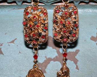 Chrysanthemum Earrings, vintage assemblage, religious medals, Swarovski crystals