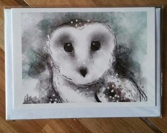 Greeting card - snowy owl